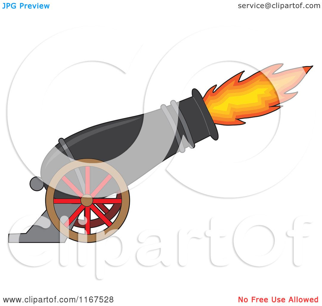 1080x1024 Cartoon Of A Cannon With Blazing Fire