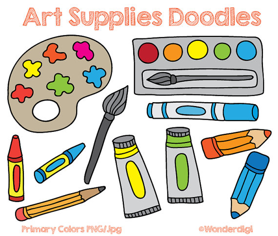 570x485 Art Supplies Clip Art Doodles Kids Clipart School Clipart
