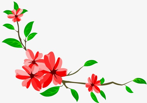 500x350 Red Floral Art Deco Elements, Red, Flowers, Art Png And Vector