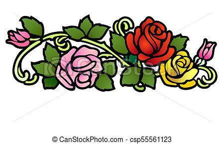 450x289 Neo Victorian Rose Ornament. Art Nouveau Style Floral Clip Art