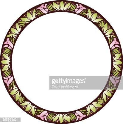 413x414 Art Nouveau Circle Frame Premium Clipart