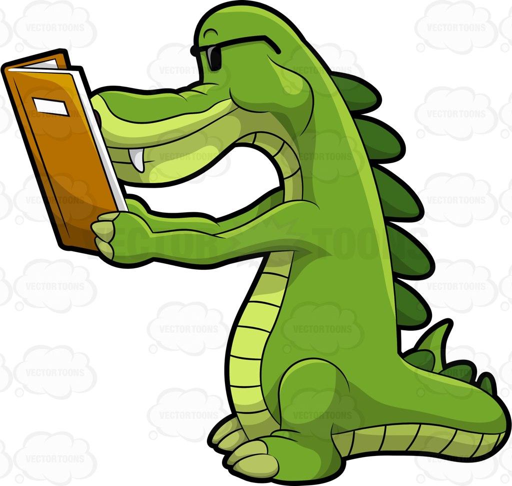 1024x971 Arthur The Alligator Reading A Book Cartoon Clipart Vector Toons