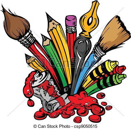 450x442 Art Supplies Vector Cartoon. Art And Back To School Clipart