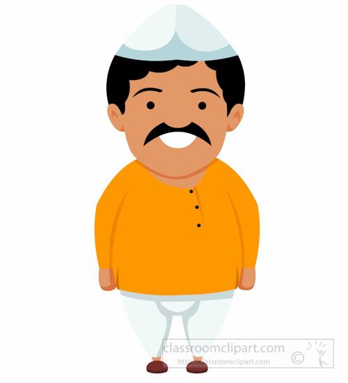 500x550 Asia Clipart Indian Man Wearing Dhoti Kurta Treditional Costume