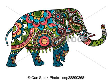 450x320 Colored Doodle Indian Elephant Illistration Isolated Over White