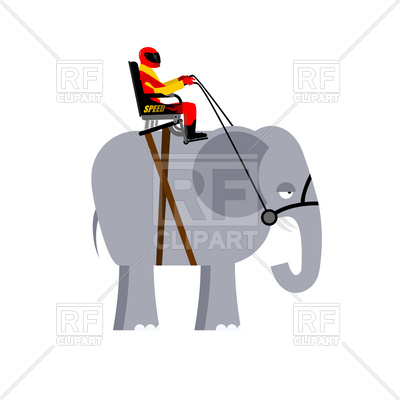 400x400 Riding Elephant Royalty Free Vector Clip Art Image