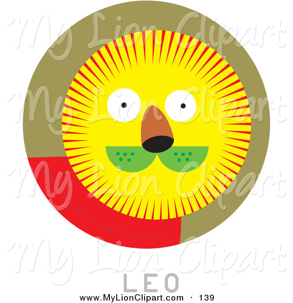 600x620 Clipart Of A Circular Leo Astrology Scene On White By Venki Art