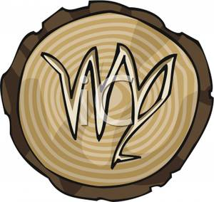 300x284 The Astrological Sign For Virgo Carved Into Wood Clip Art Image