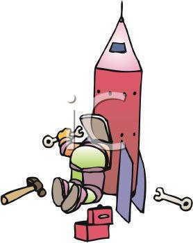 278x350 Astronaut Fixing His Rocketship