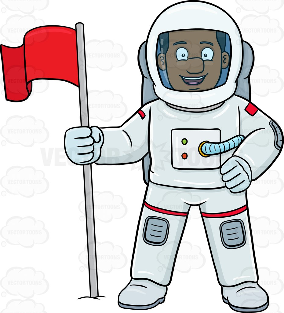 930x1024 A Black Male Astronaut Smiles After Setting A Flag On A Foreign