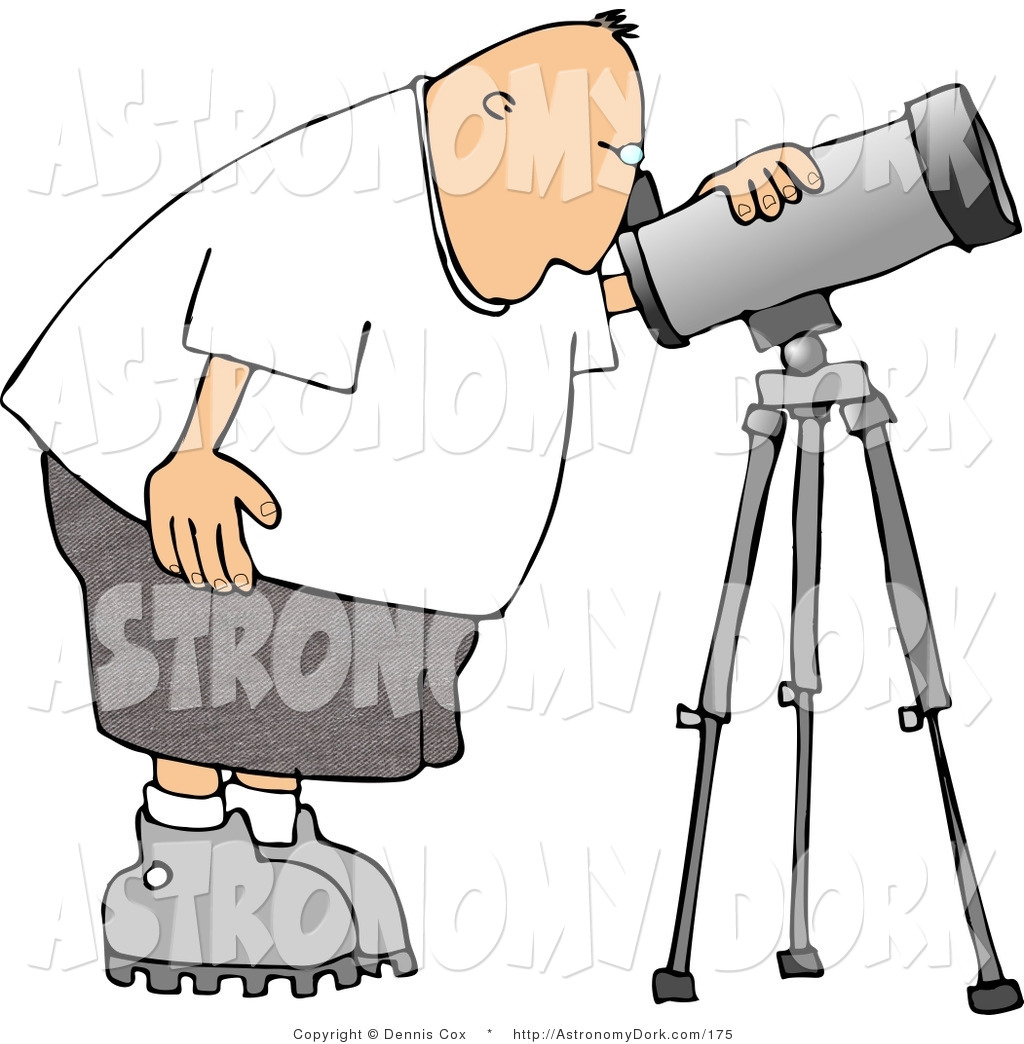 1024x1044 Clip Art Of A Male Astronomer Peering Through A Telescope By Djart