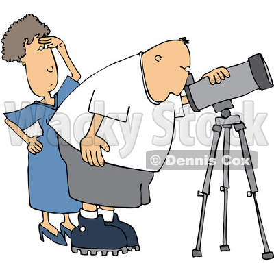 400x400 Clipart Of A Cartoon Chubby White Male Astronomer And His Wife
