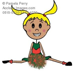 299x300 Clip Art Illustration Of A Stick Girl Cheerleader