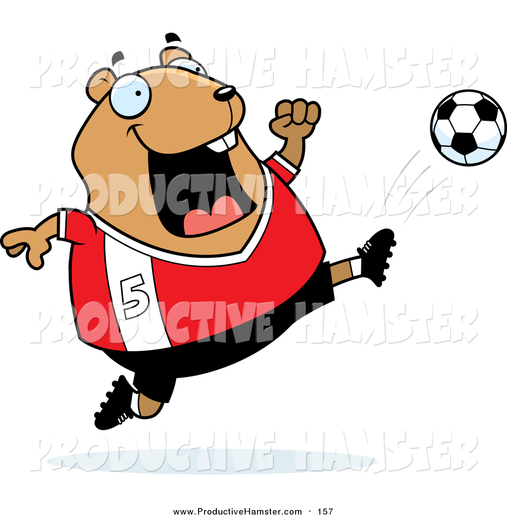1024x1044 Clip Art Of A Cartoon Chubby Hamster Athlete Kicking A Soccer Ball