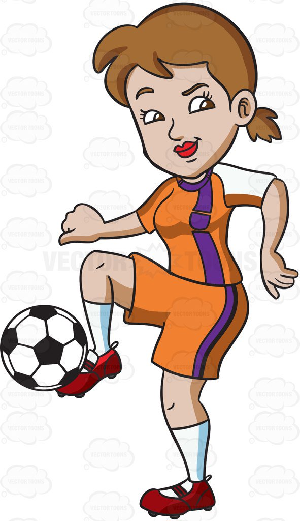 591x1024 A Female Athlete Dribbling The Ball With Her Foot Cartoon Clipart