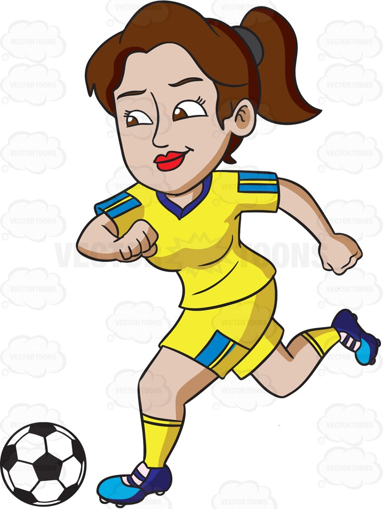 771x1024 A Female Athlete Smiles While Kicking A Soccer Ball Cartoon