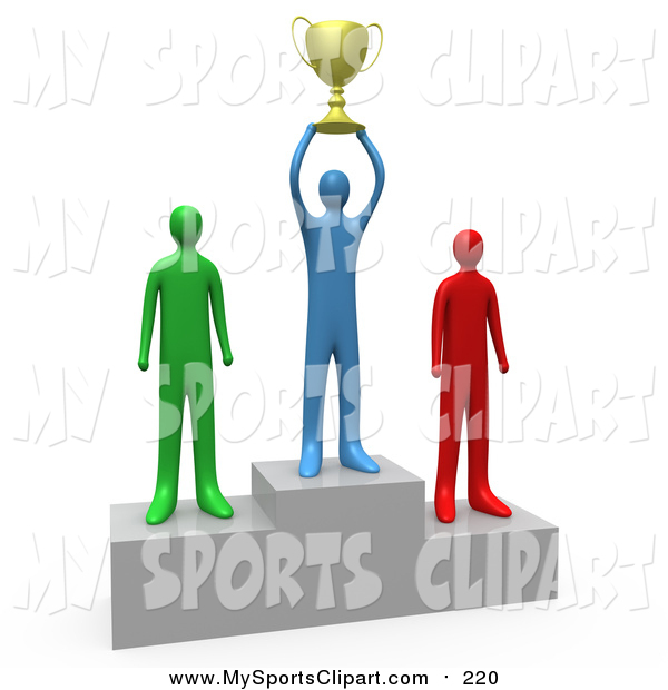 600x620 Sports Clip Art Of A 3d Successful Athlete Holding A Golden Trophy