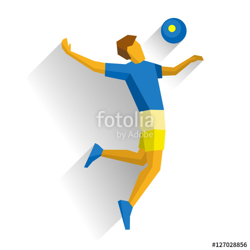 500x500 Volleyball Player Isolated On White Background With Shadows