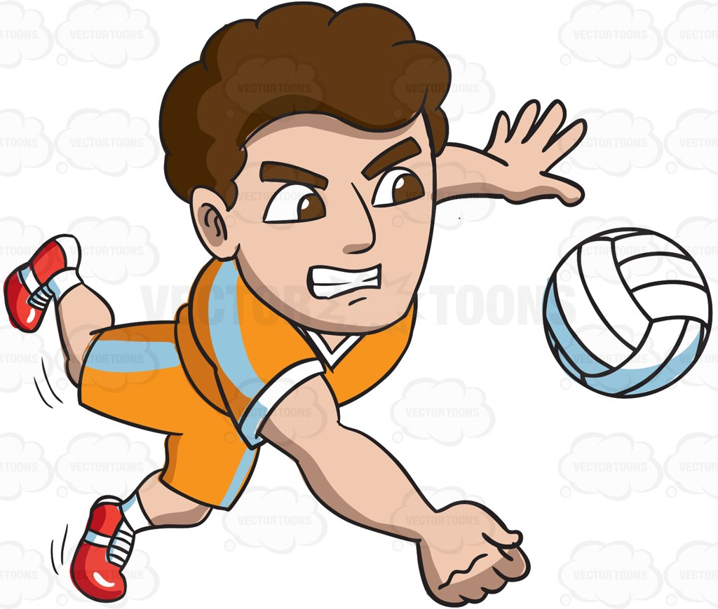 1024x869 A Male Volleyball Athlete Goes For A Dig Cartoon Clipart Vector