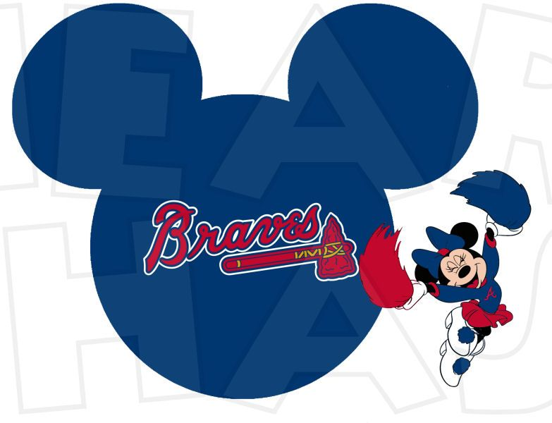783x600 Atlanta Braves Baseball With Minnie Mouse Instant Download Digital