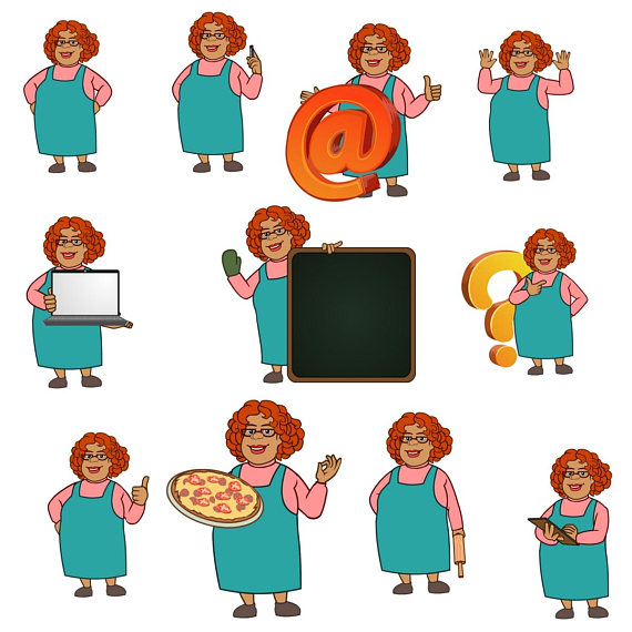 570x570 Mary Aunt Clipart Chef Clipart,baking Clipart,character Clipart