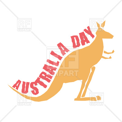 400x400 Australia Day. Kangaroo With Text. Royalty Free Vector Clip Art