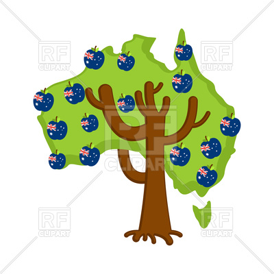 400x400 Patriotic Apple Tree With Australia Flags Royalty Free Vector Clip