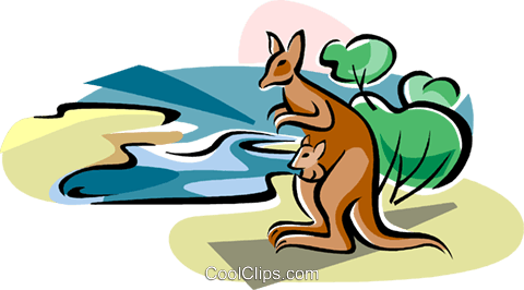 480x266 Australian Lake Eyre With Kangaroo Royalty Free Vector Clip Art