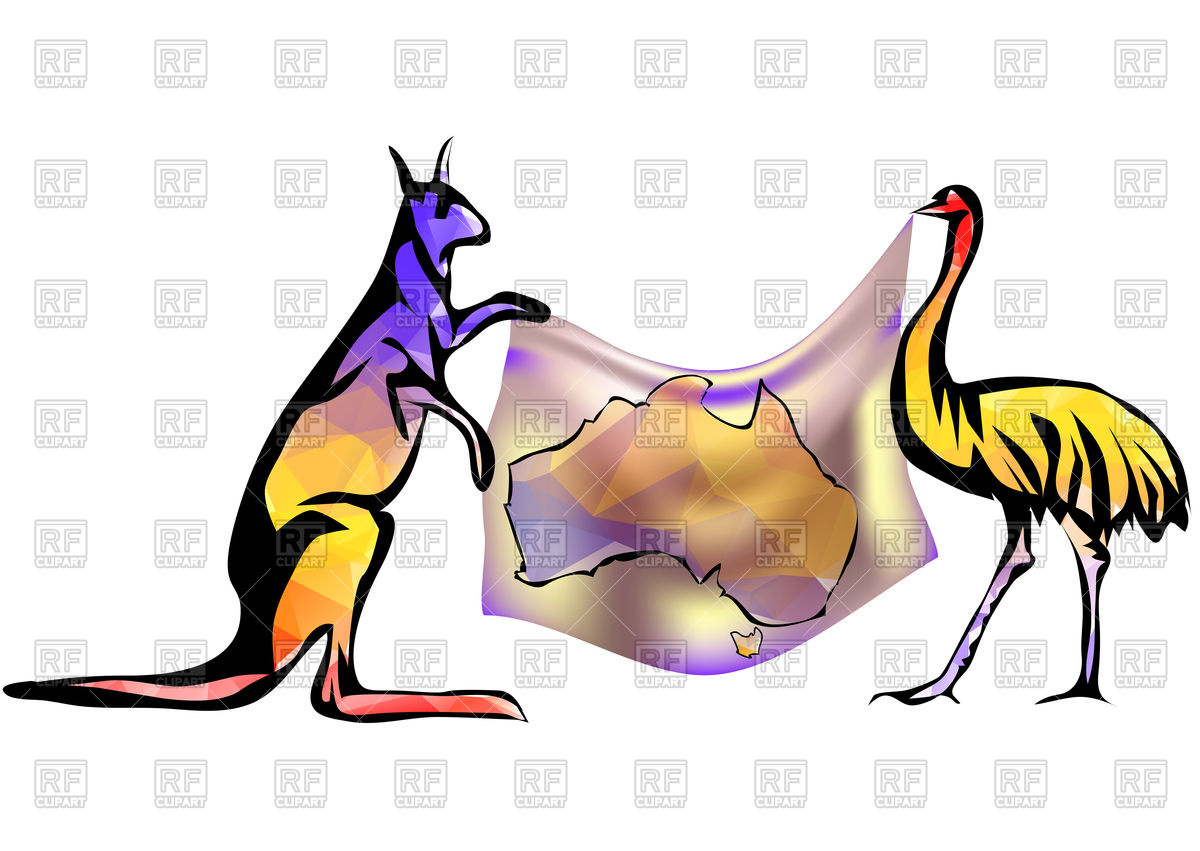 1200x851 Australian Map With Kangaroo And Ostrich Royalty Free Vector Clip