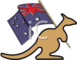 300x232 A Kangaroo Holding The Australian Flag