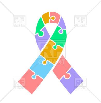 391x400 Autism Awareness Day Ribbon Royalty Free Vector Clip Art Image