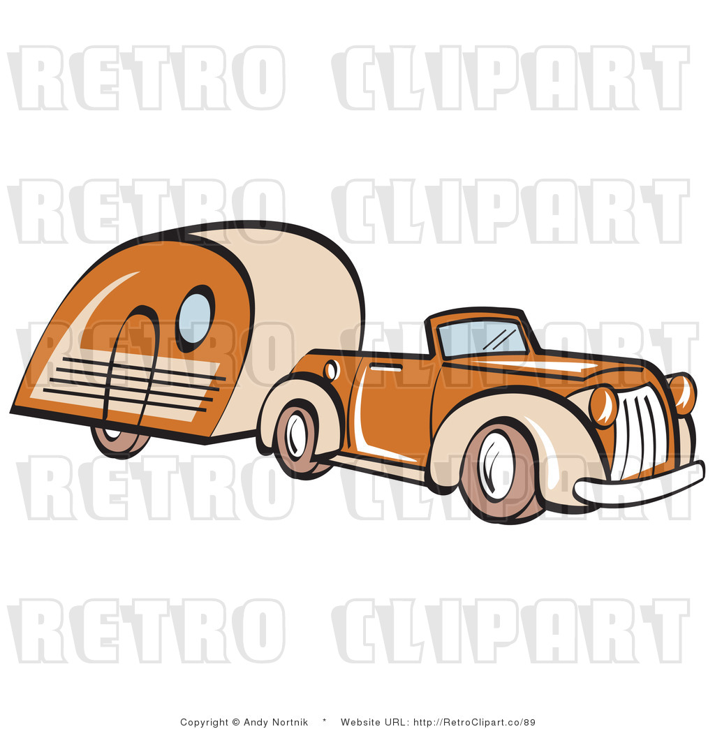 1024x1044 Royalty Free Retro Vector Clip Art Of A Car And Trailer By Andy