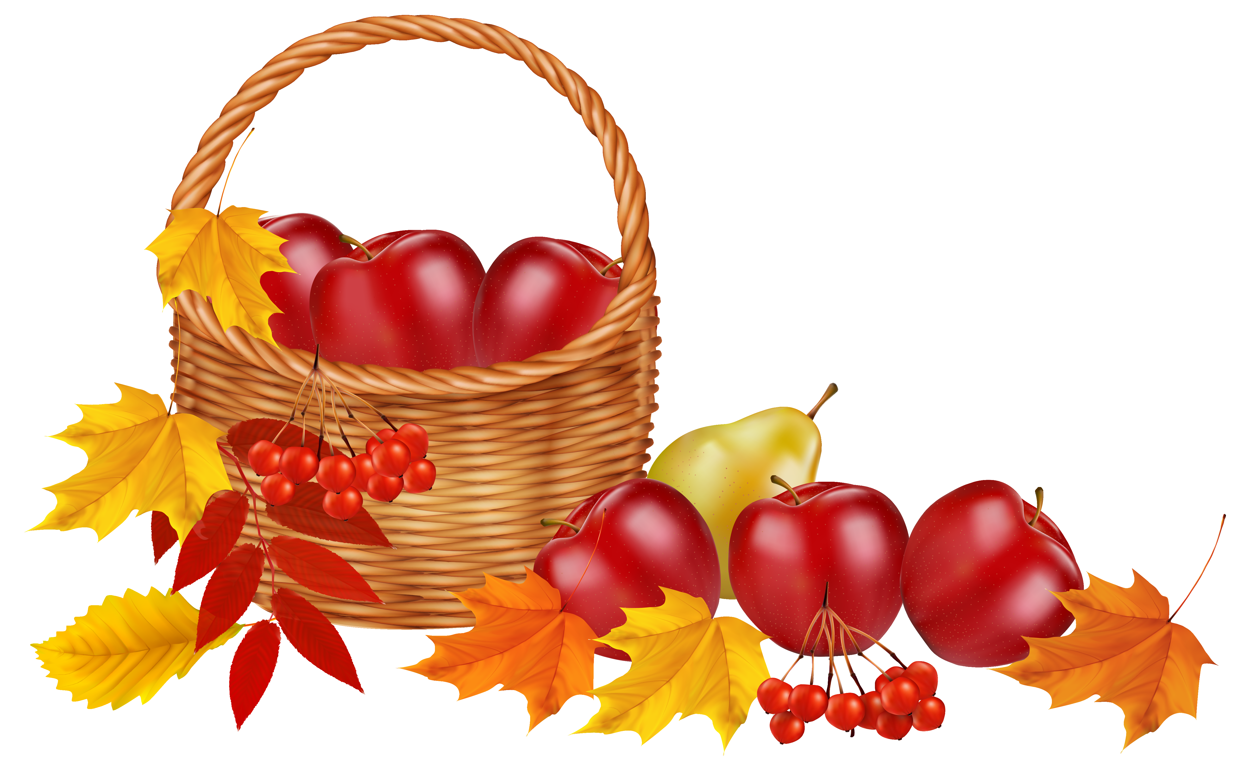 5199x3209 Basket With Fruits And Autumn Leaves Png Clipart Imageu200b Gallery