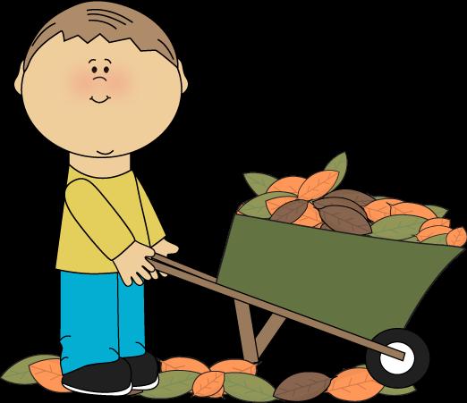 522x451 Boy With A Wheelbarrow Full Of Fall Leaves Clip Art