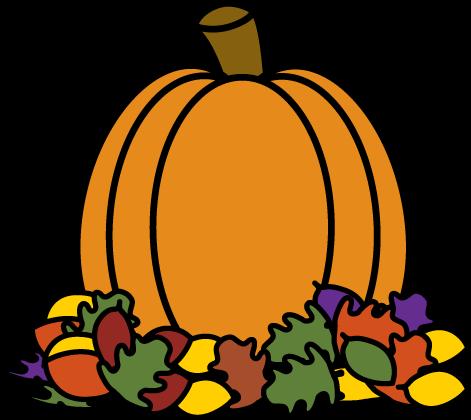471x420 Pumpkin In Autumn Leaves Clip Art