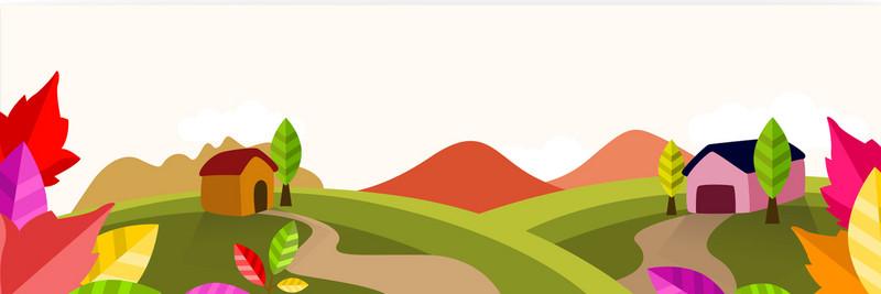 800x267 Autumn Cartoon Scenery, Elements, Vector, Creative Background
