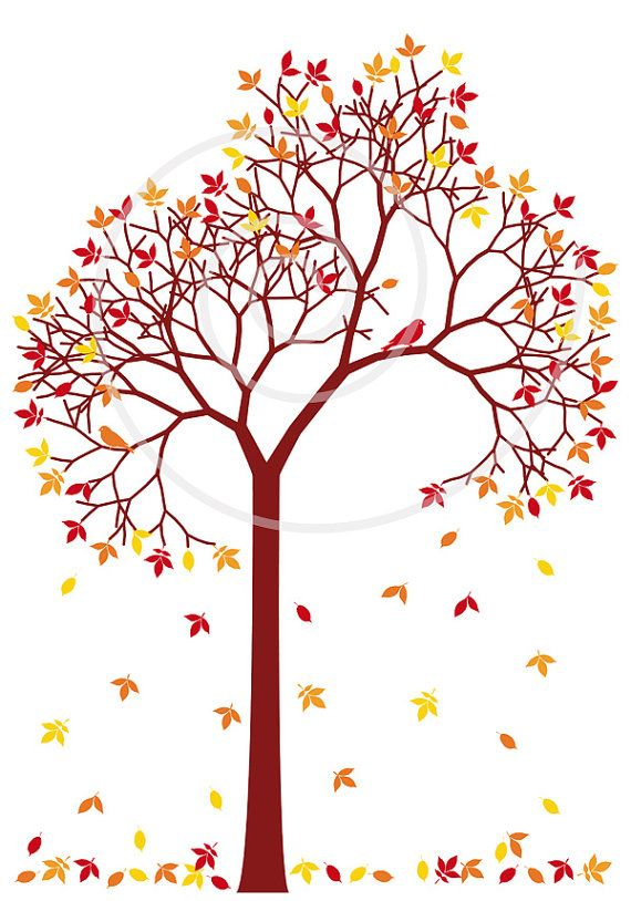 570x814 Autumn Tree With Colorful Leaves And Birds, Digital Clip Art