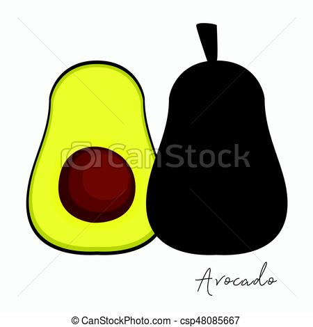 450x470 Fresh Avocado Vector. Avocado And Sliced Piece Of Avocado Clip
