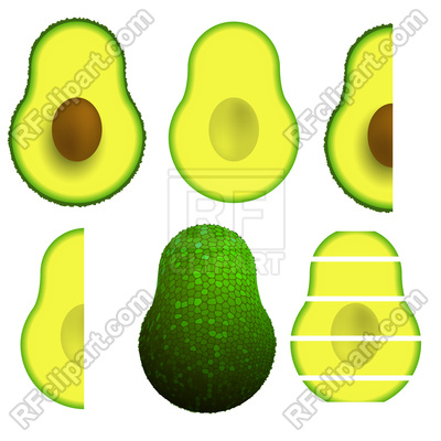 400x400 Green Ripe Avocado Fruit Isolated On White Background Royalty Free
