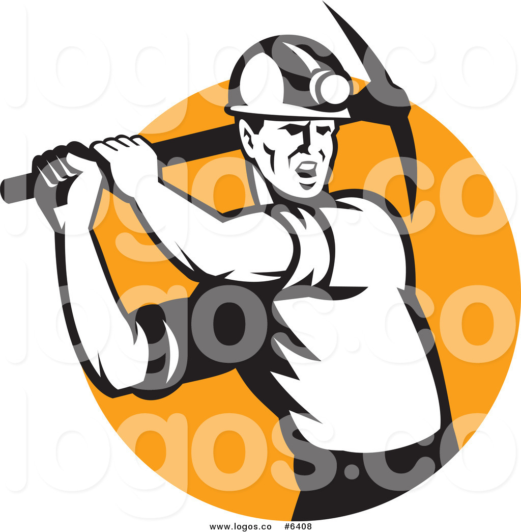 1024x1044 Royalty Free Clip Art Vector Logo Of A Coal Miner Swinging A Pick