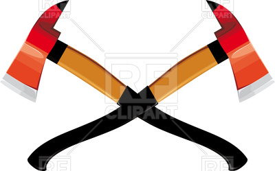 400x249 Two Crossed Firefighter Ax Isolated On White Background Royalty