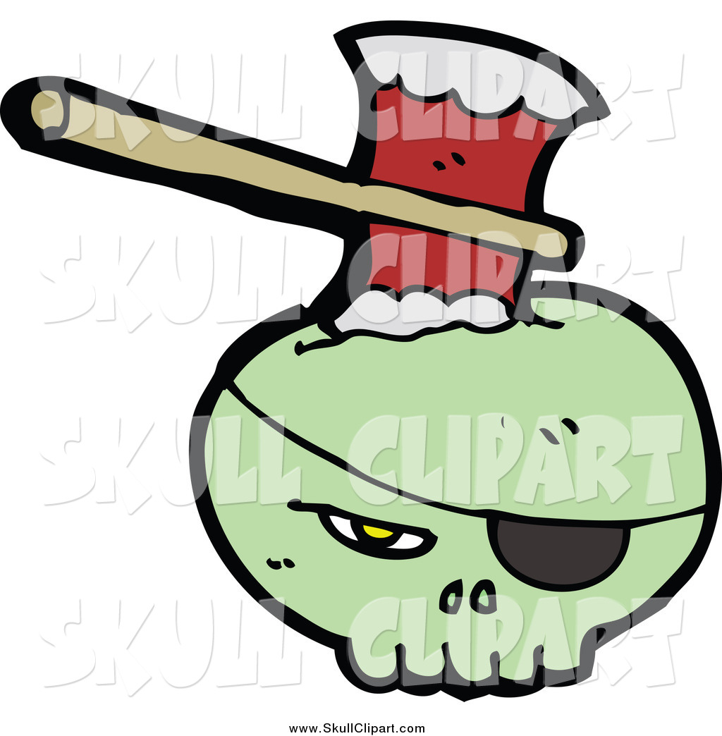 1024x1044 Vector Clip Art Of A Green Skull An Eye Patch, Stabbed