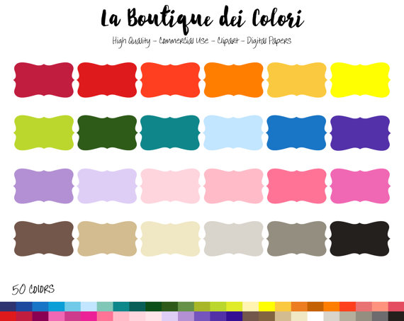 570x453 50 Rainbow Solid Color Swirl Frame Clip Art, Banners Digital