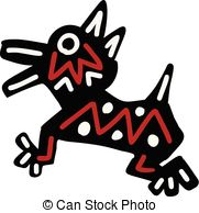 181x194 Dog Icon Aztec. Dog Icon With Aztec Patterns Isolated