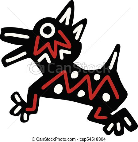 450x465 Dog Icon Aztec. Dog Icon With Aztec Patterns Isolated On White
