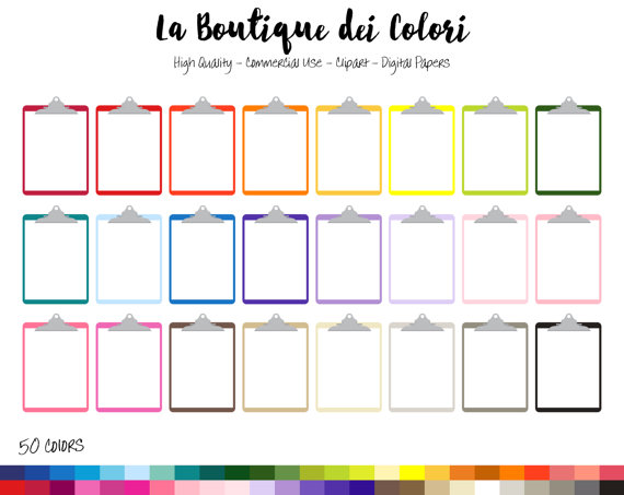 570x453 50 Rainbow Clipboard Clip Art, Digital Illustrations Png Graphics