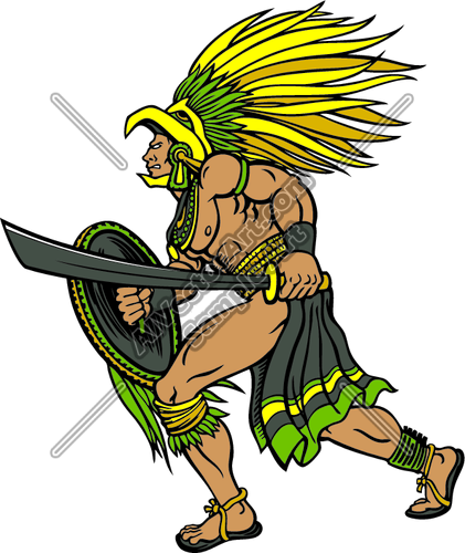 421x500 Aztec Warrior Clipart