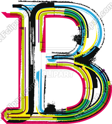 361x400 Colorful Grunge Font Letter B Royalty Free Vector Clip Art Image