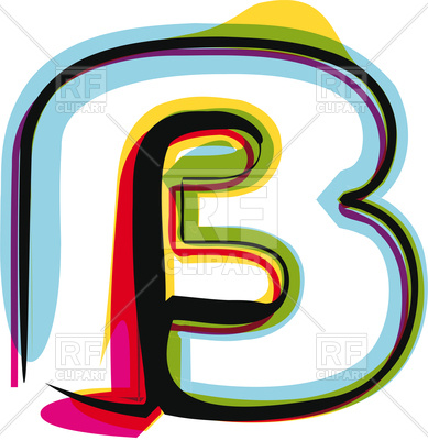 389x400 Colorful Letter B On White Background Royalty Free Vector Clip Art