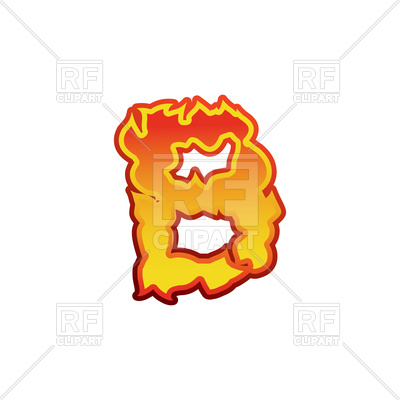 400x400 Fiery Letter B On White Background Royalty Free Vector Clip Art